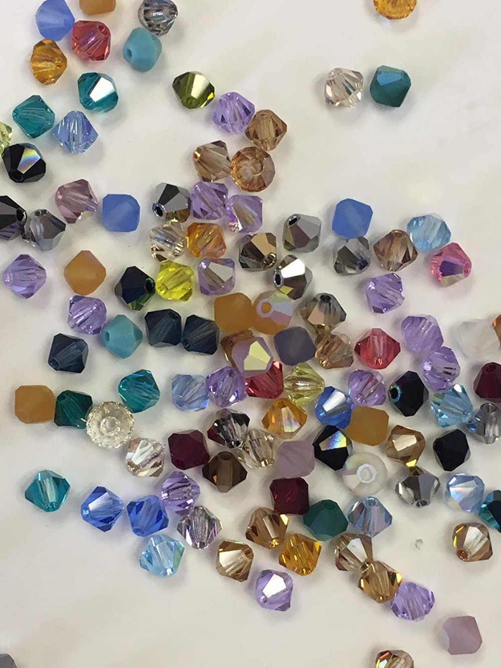 BEAUCHAMP 4mm Kristall Perlen Doppelkegel Perlen Für Schmuck Machen Halskette Quaste Ohrringe Armband Bogen Knoten Erkenntnisse Verschiedene Farbe