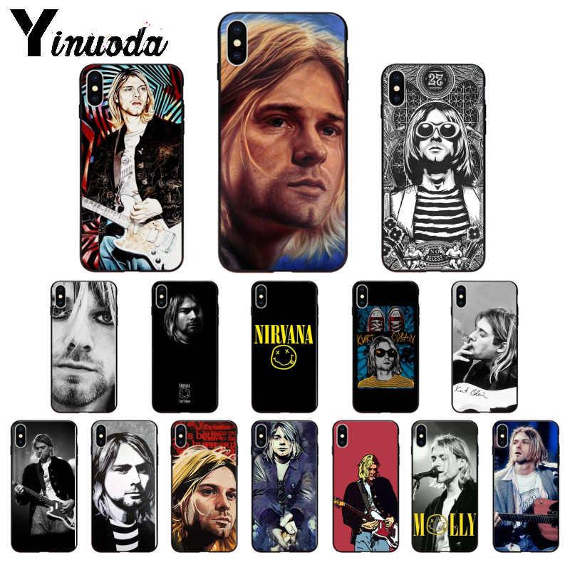 Yinuoda Nirvana Kurt Cobain Yüksek Kaliteli Telefon iphone için kılıf 8 7 6 6S Artı 5 5S SE XR X XS MAX Coque Kabuk