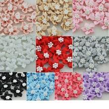 40 шт. атласные ленты банты с цветами W/бусины аппликации для свадебного декора много микс E46