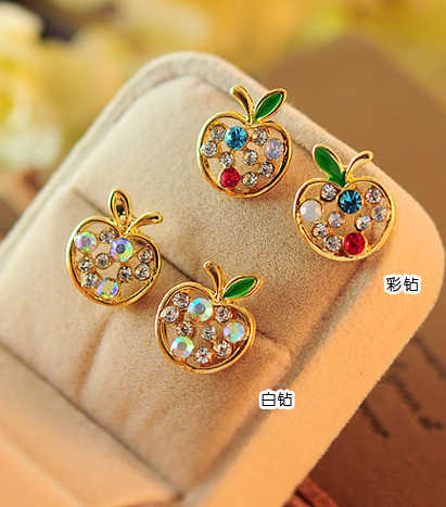 Korean Sweet Girls  New Fashion Shiny Crystal Rhinestone Cute Apple  Crystal Gem Stud Earrings E3282