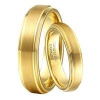 1 Çift 6mm & 4mm Boy & Kız Evlilik Yüzükler Set Altın Rengi için Tungsten Karbür Düğün Nişan Band Erkek kadın