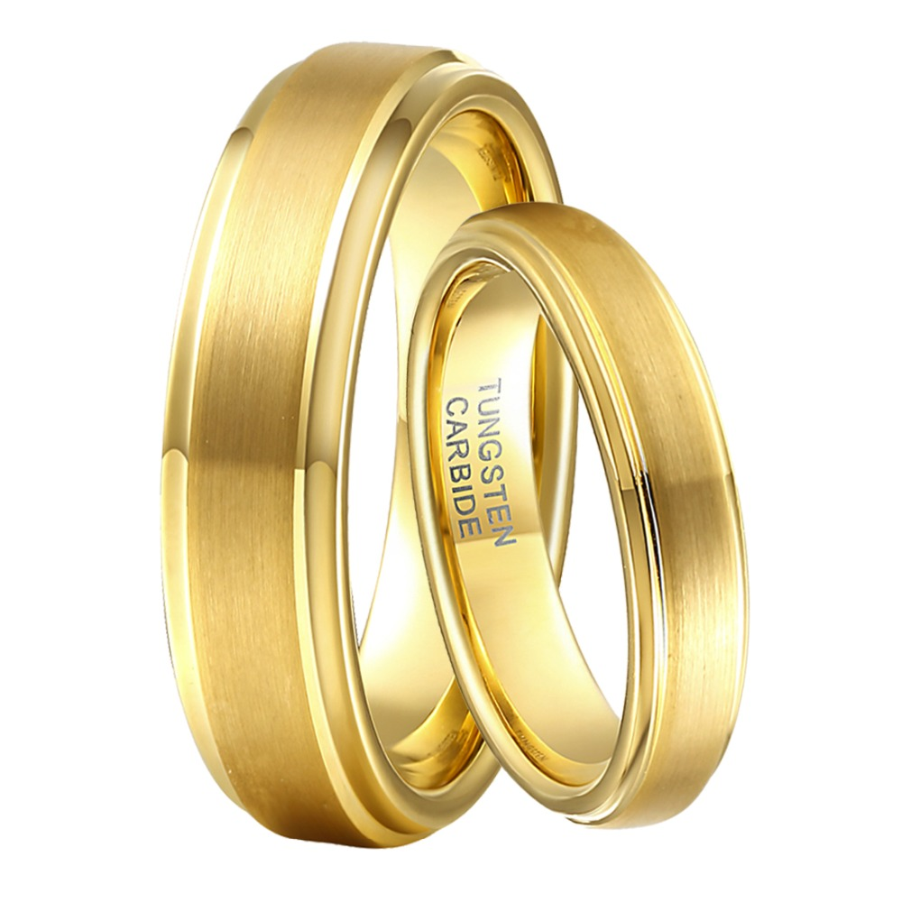 Wedding Ring On Chain Boy Or Girl: 1 Pair 6mm & 4mm Boy & Girls Marriage Rings Set Gold Color