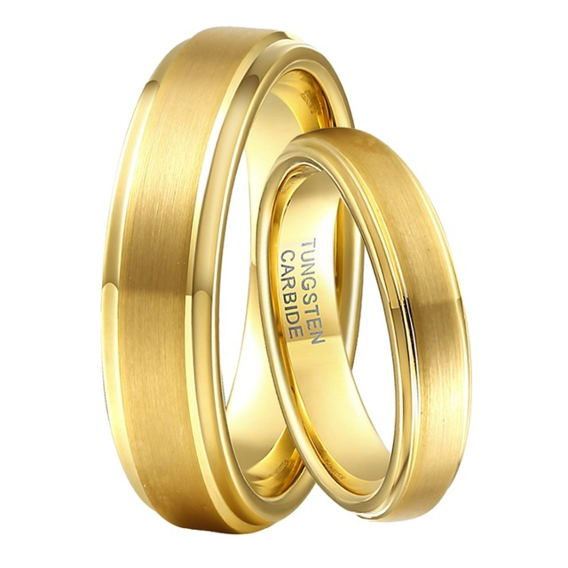 1 pair 6mm 4mm boy marriage rings set gold color