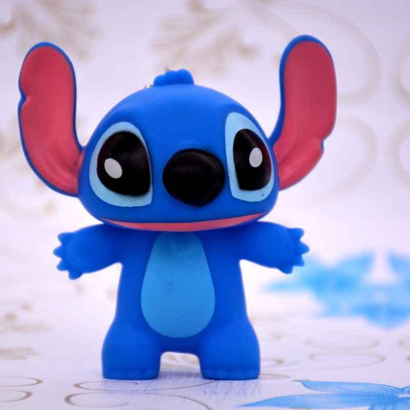 4 estilos anime lilo & stitch modelo brinquedos figura de ação chaveiro pvc boneca ponto modelo pingente & decoração natal presentes de aniversário