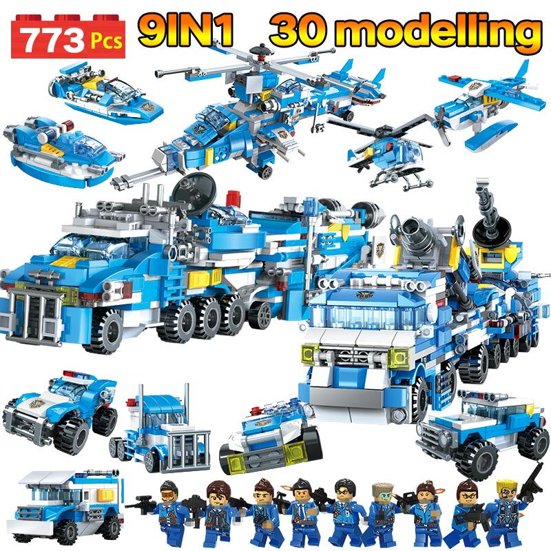 773pcs City Police Helicopter Boat Trucks Blocks Kits Compatible LegoING City Military Module Riot Police Firefighter Bricks Toy-in Blocks from Toys & Hobbies