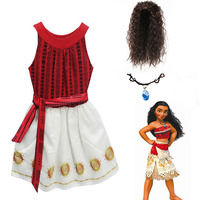 Kids Moana Girl Dresses Striped Bohemian Clothes Summer Vaiana Dress Girls Costume Elas Anna Children Clothing