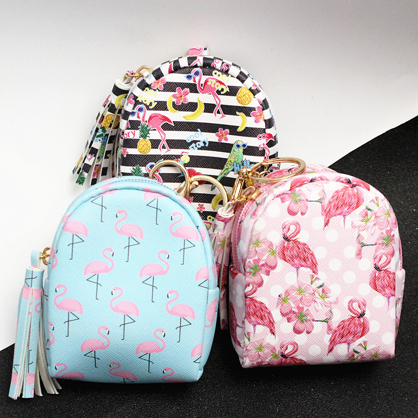 M039 A Fashionable Tassel Zero Purse Exquisite Flamingo Design Printing Lovely Square Small Bag Card Bag