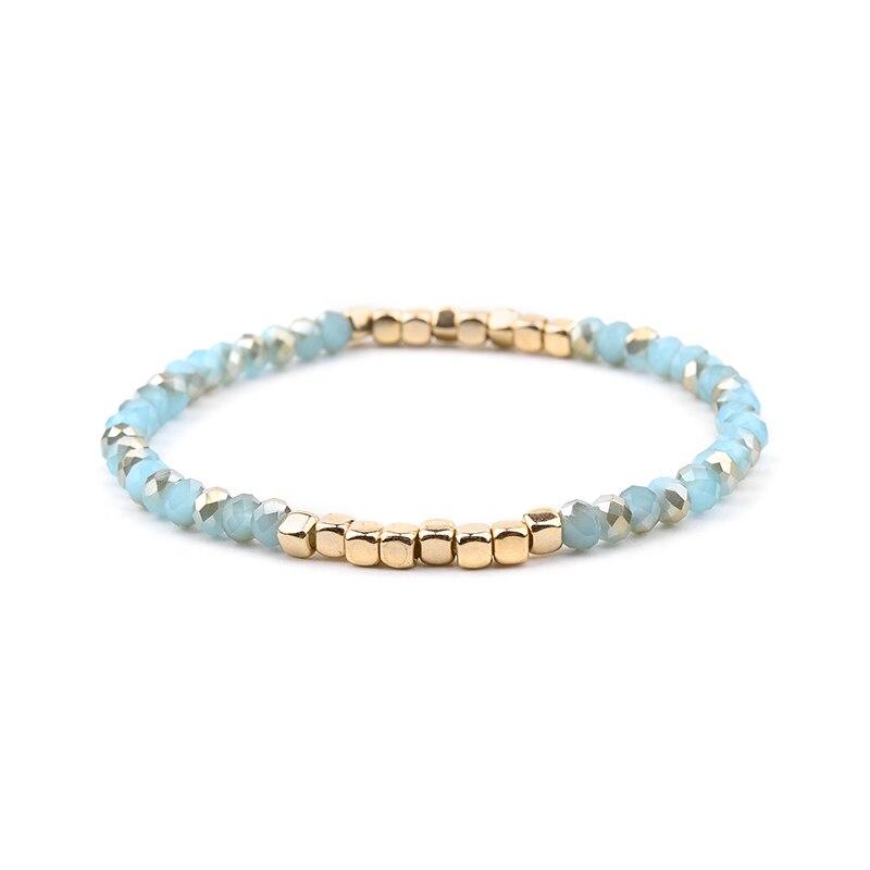 BOJIU многоцветные Кристальные браслеты для женщин золотые акриловые медные бусины розовый белый черный серый женский браслет с кристаллами BC226 - Окраска металла: 18-Light Blue Gold