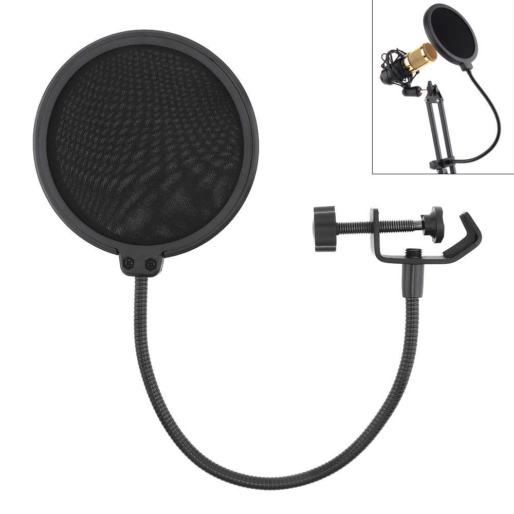 Professional Double Layer Studio Microphone Pop Filter Flexible Wind Screen Mask Mic Pop Filter Shield Microphone Accessories