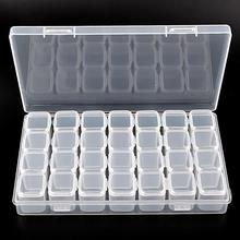 2017 1Set 28 Lattice Plastic Nail Tool Decorations Empty Storage Case Box JUL10 dropship Y710(China)