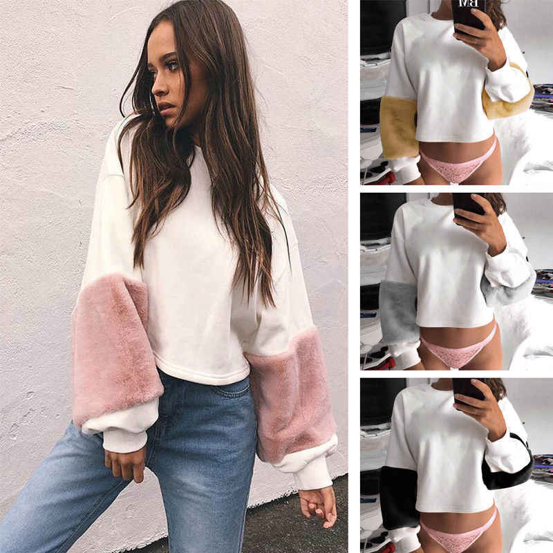 New 2018 arrival Women Casual Plush Long Sleeve O-neck Loose Hoodie Velvet Patchwork Pullover Tops