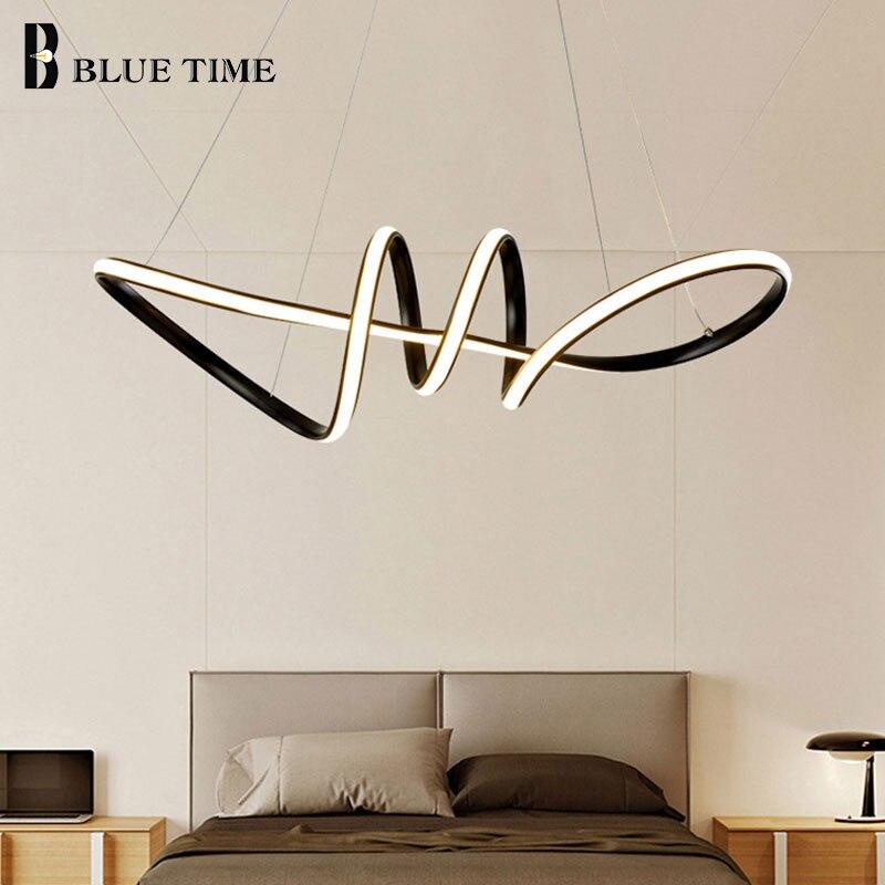 Black&Gold&White Modern LED Pendant Lights For Living Room Dining Room Bedroom LED Pendant Lamps Home Ceiling Lamp Fixtures