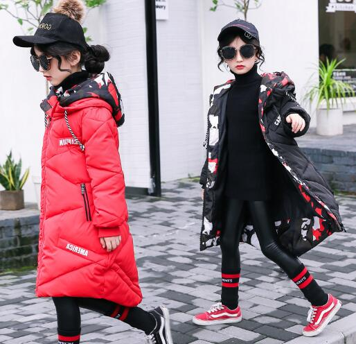 2018 New Fashion Girls Long Coat Winter Warm Jackets Hooded Children Thick Parkas Cotton-padded Outerwear & Coats new women winter down cotton jacket coats hooded parkas plus size female thick warm jackets medium length cotton coat okxgnz1116