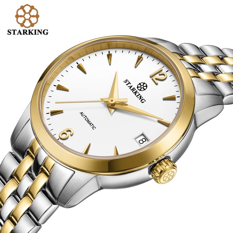 STARKING women watches Self-wind automatic watch Analog Stainless Steel Dress Ladies WristWatch Waterproof Sapphire Crystal 2018 deluxe ailuo men auto self wind mechanical analog pointer 5atm waterproof rhinestone business watch sapphire crystal wristwatch