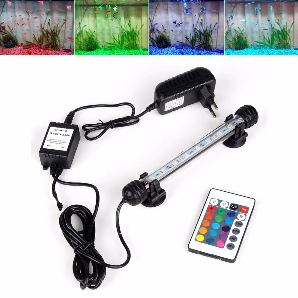 EU/AU/EU/UK Plug Aquarium Fish Tank LED Light RGB Remote Waterproof 5050 SMD LED Bar Light Lamp Submersible MF-27U