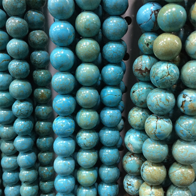 Genuine Jewelry Natural Stone Turquoise 4 row 8 mm Bead Stranded long Necklace