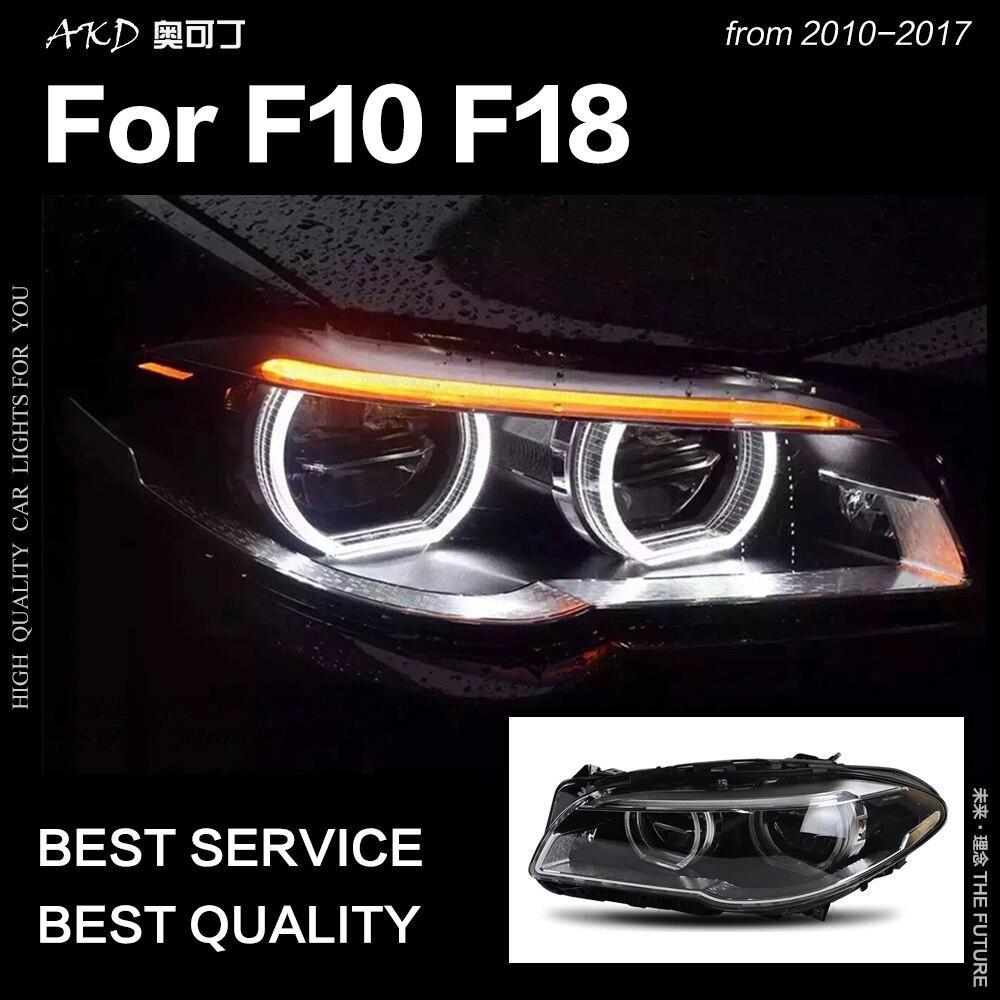 АКД стайлинга автомобилей фара для F10 F18 фары 2010 2016 520i 525i 530i все светодиодный фары DRL Bi Xenon Hid авто аксессуары