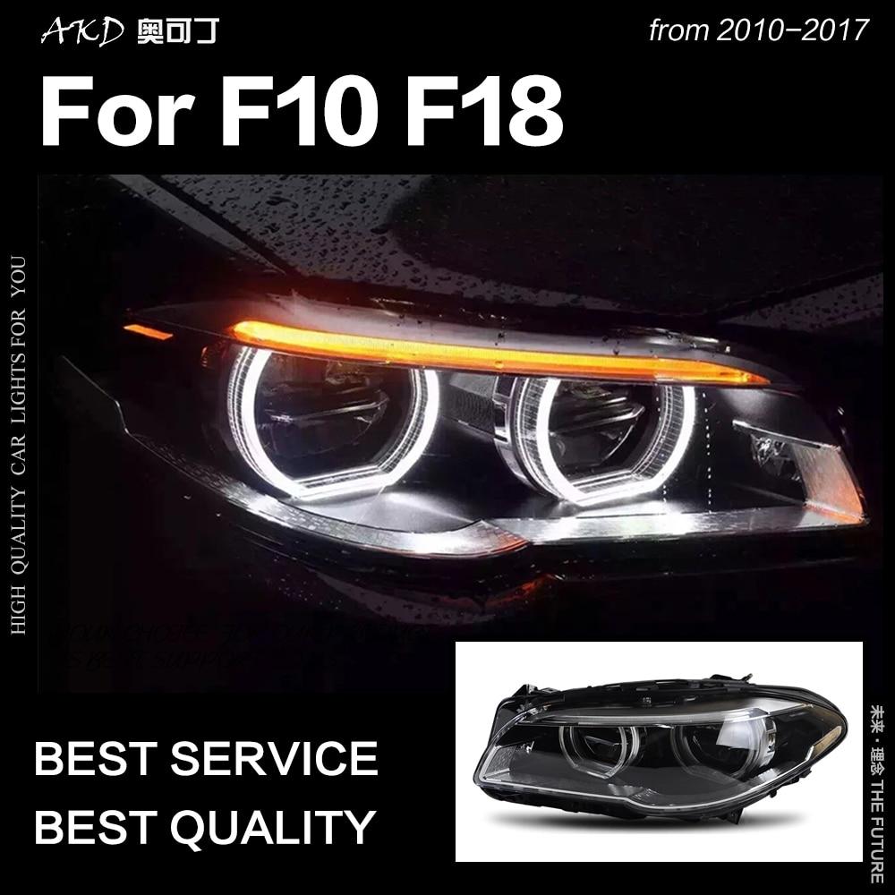 AKD Styling Car Head Lamp para F10 F18 Faróis 2010-2016 520i 525i 530i Todos Os LED DRL Farol Hid bi Xenon Auto Acessórios
