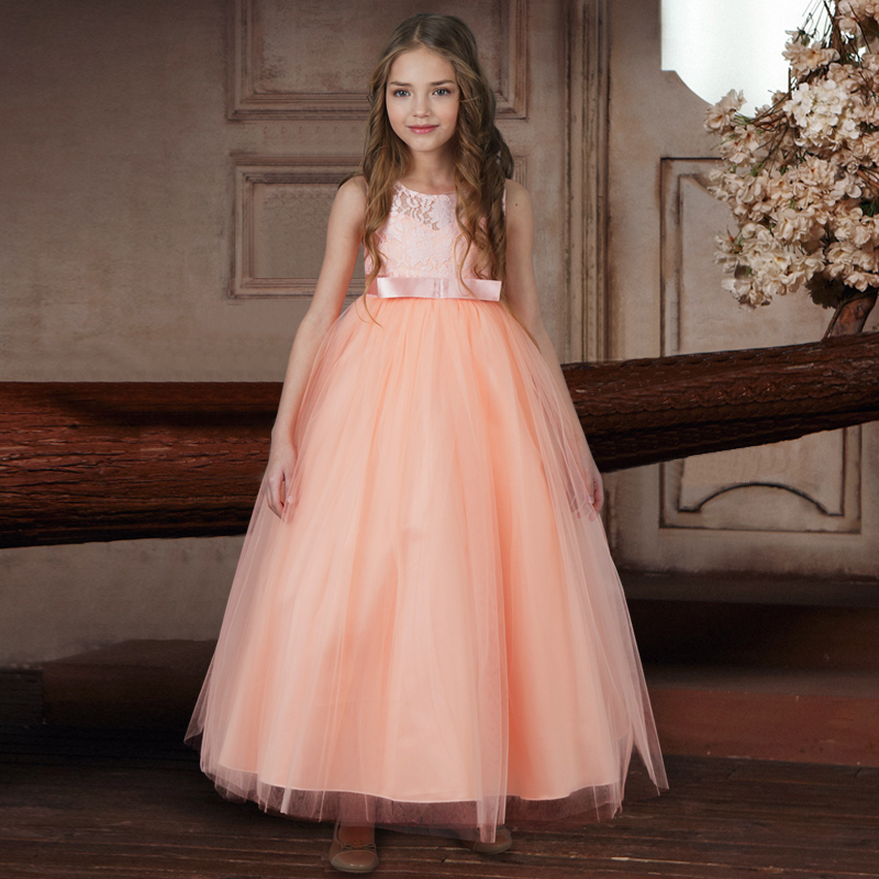 Tulle Lace Flower Girls Dresses Princess Long Gown Dress for Kid Girl Clothes 6-14  Years Birthday Wedding Party Formal Costumes girls champagne short front long back flower girl dress for wedding trailing formal party vestidos girls clothes 2017 skf154024