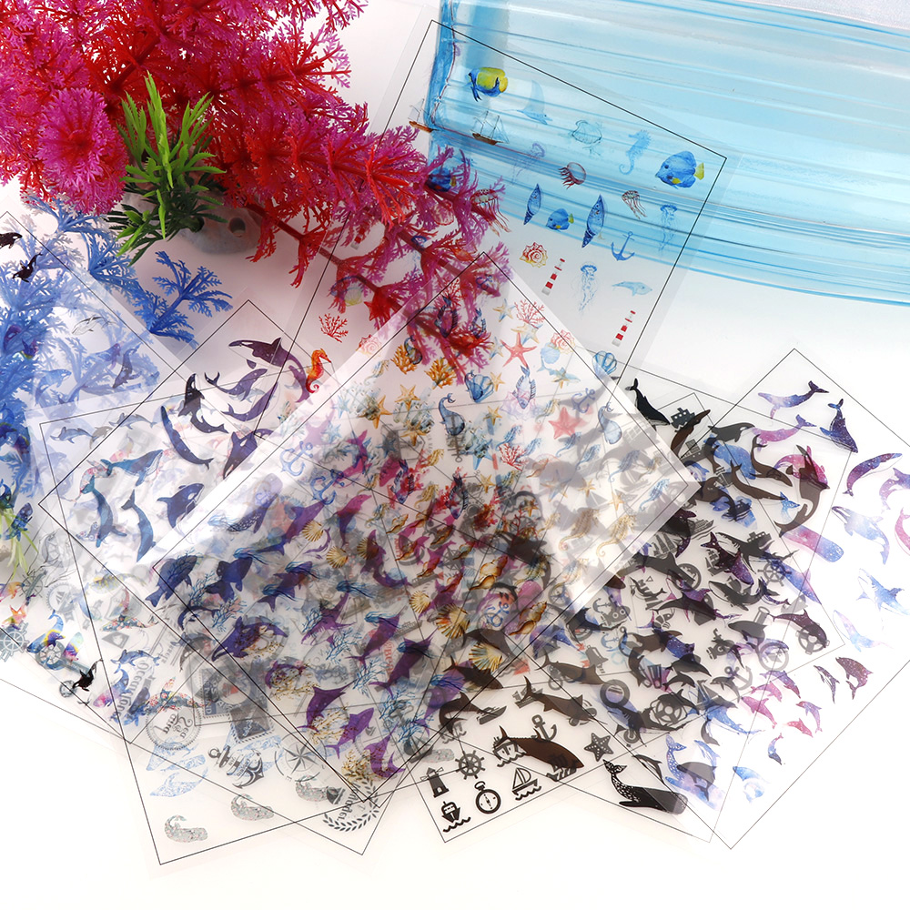 5 Sheets/lot Ocean Shell Fish Dolphin WhaleTransparent Material With Use Of Epoxy UV Mold Making Tool Filling Phone Case For DIY