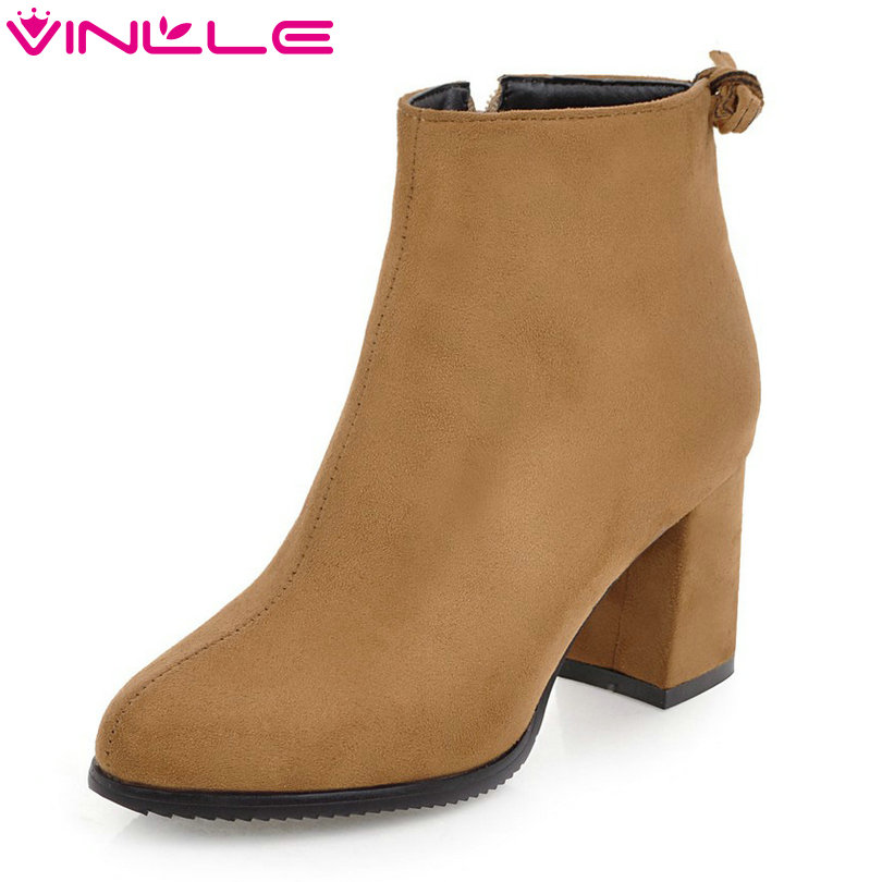 VINLLE 2018 Women Boots Shoes Ankle Boots Square High Heel Pointed Toe Zipper Princess Style Ladies Motorcycle Shoes Size 34-39 vinlle 2018 women boot ankle boots square high heel scrub pu leather pointed toe zipper ladies motorcycle shoes size 34 43