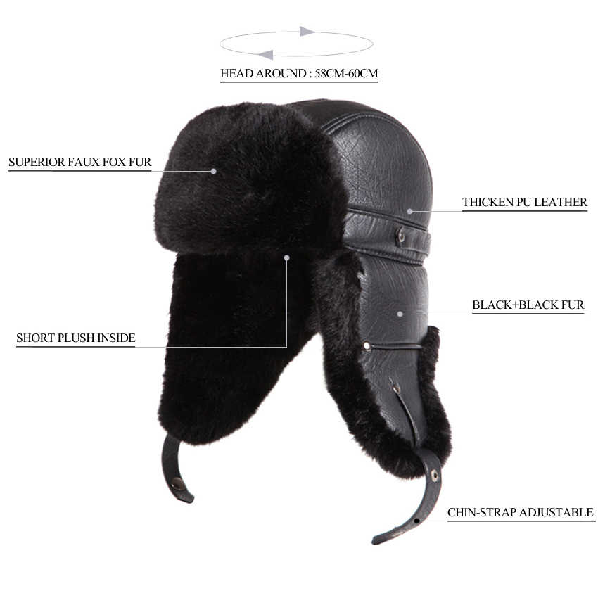 18e76410193745 ... Winter Faux Fox Fur Russian Ushanka Men PU Leather Bomber Hats Vintage Pilot  Aviator Trapper Trooper