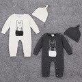 2016 Baby Girl Roupas Corpo Bebes Recém-nascidos Bodysuits Do Bebê Menino Bodysuit Bebê coelho impresso com chapéu Do Bebê Do Algodão