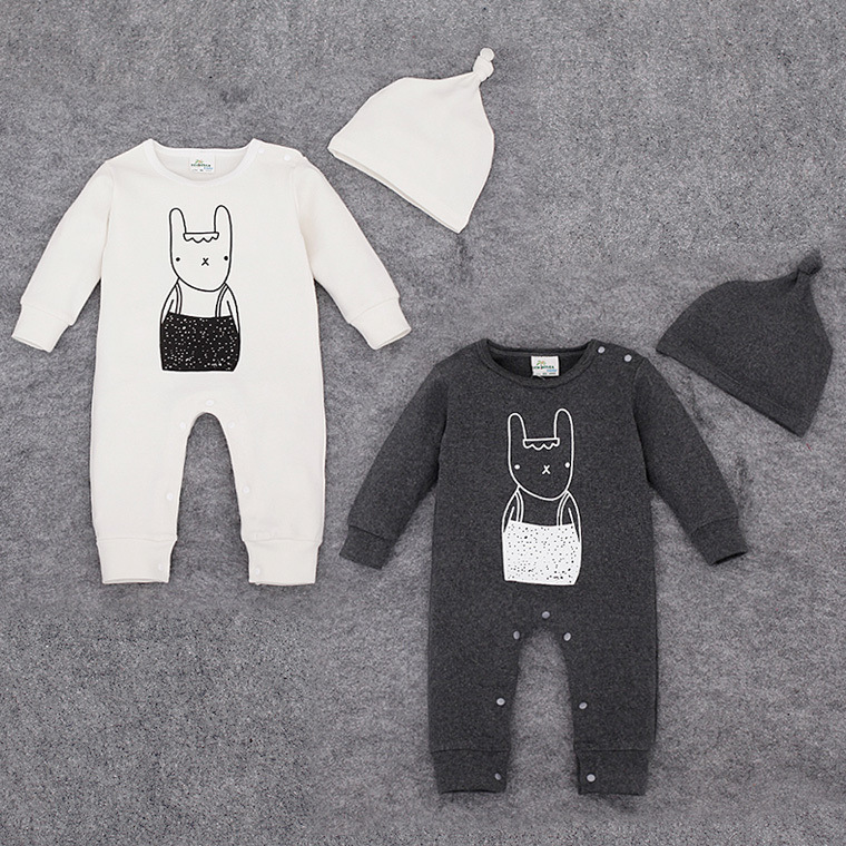 2016 Baby Girl Clothes Body Bebes Newborn Baby Bodysuits Cotton Baby Boy Bodysuit Baby rabbit printed with hat