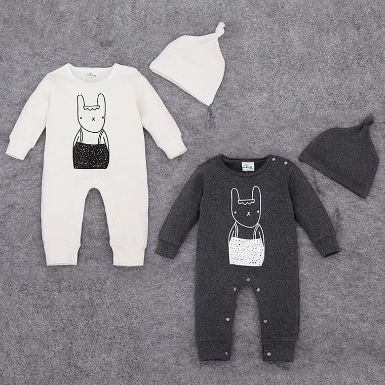 2016 Baby Girl Clothes Body Bebes Newborn Baby Bodysuits Cotton Baby Boy Bodysuit Baby rabbit printed with hat
