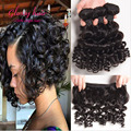 Бразильский афро кудрявый вьющиеся волосы короткие мелирование волос 3 пучки спиральный вихрь человеческих волос упругий локон странный вьющиеся дева волос