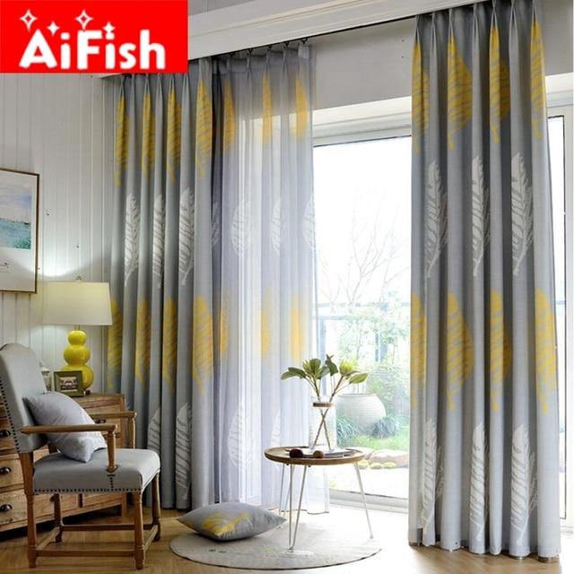 Amerikanischen Landhausstil Romeantic Weiß Gelb Rich Blätter Vorhänge Für  Wohnzimmer Grau Halbschatten Schlafzimmer Stoff AP205