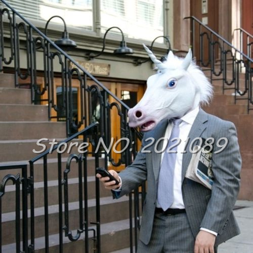 New Unicorn Horse Head Mask Halloween Costume Party Gift Prop Novelty Masks Latex Rubber Creepy