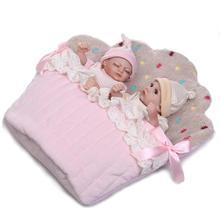 купить lovely NPK 26 cm Handmade Real Premature Infant Baby Girl Full body Vinyl Silicone Reborn Doll 10'' mini twins with sleeping bag онлайн