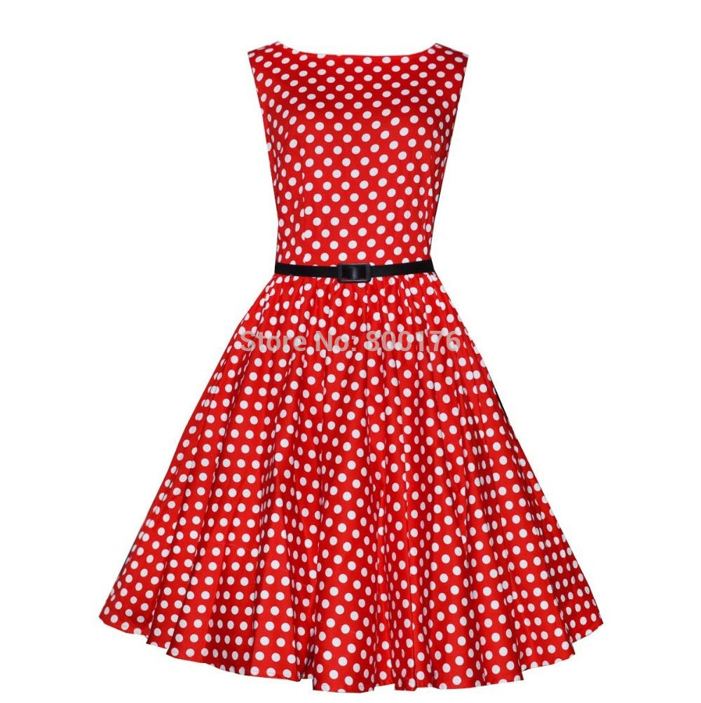Free shipping 2015 Casual Elegant Dresses Women Sleeveless Party Vintage Prom Polka Dot Printed Dresses Plus