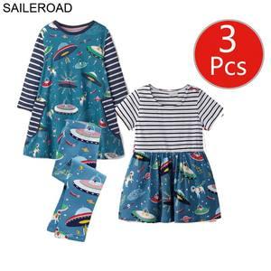 Image 4 - SAILEROAD 3pcs Girls Dress Leggings Sets for Toddler Girls Summer Autumn Clothing Unicorn Children Dresses Clothes for Girls