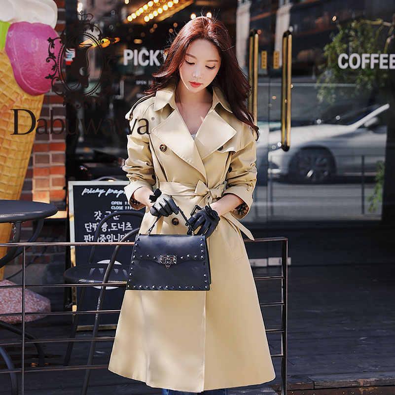 Dabuwawa Весна Женская Хаки шикарная накидка-Тренч 2019 новая уличная рабочая одежда двубортный с поясом длинное пальто Верхняя одежда D18CTC025