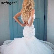 White Sweetheart Mermaid Tulle Wedding Dresses Lace Appliques Spaghetti Sleeveless Bridal Gown Vestidos de Noivas Custom