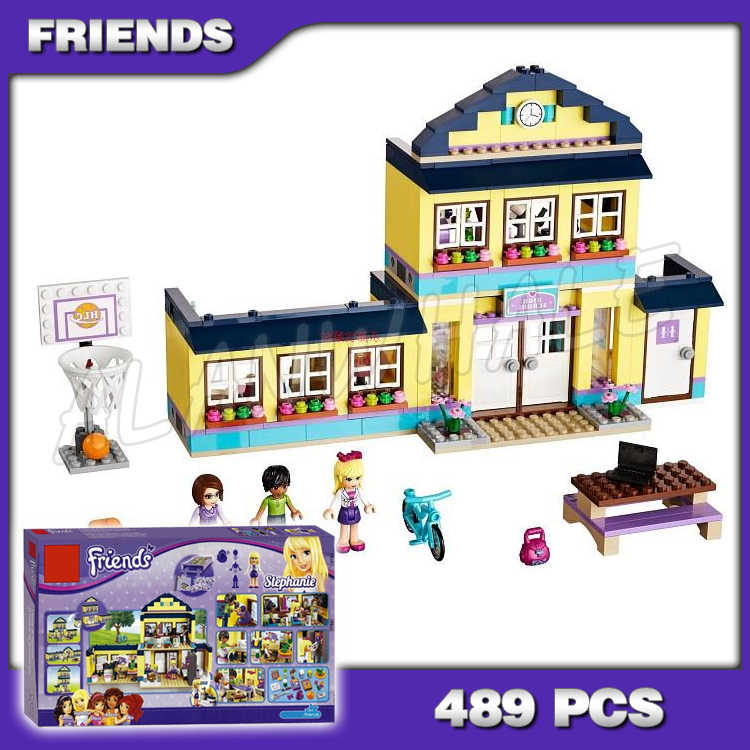 489pcs Friends Heartlake High Performance School 10166 basketball hoop science picnic flower Building Block Compatible with Lego
