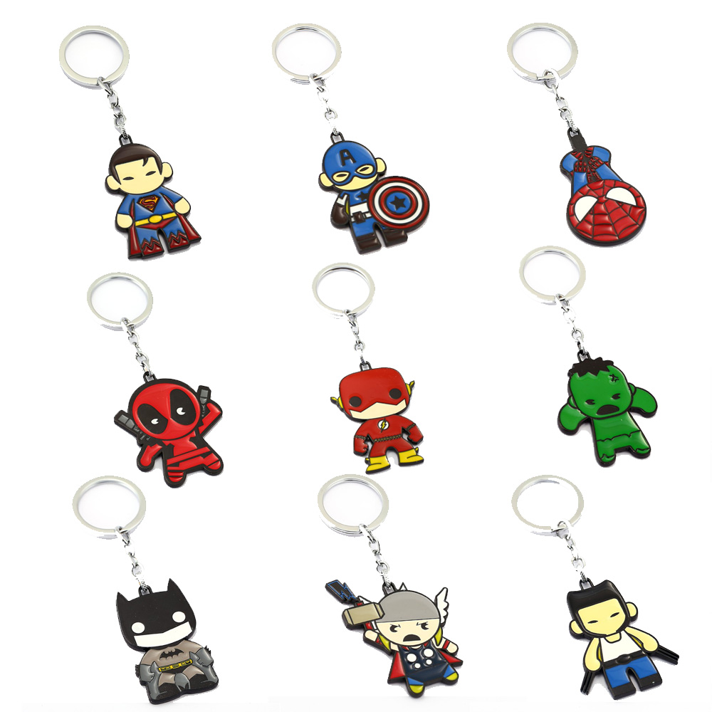 Avengers Keychain Thor Captain America Hulk Flash Deadpool Batman Key Ring Holder Chaveiro Car Key Chain Pendant Jewelry