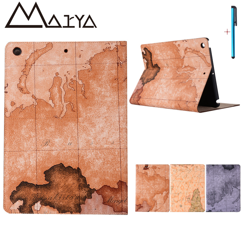 For iPad 2017 Case New Protective Cover Smart Map Pattern Wallet Flat Folio Stand Sleep Wake Up PU Leather For iPad 9.7inch Case