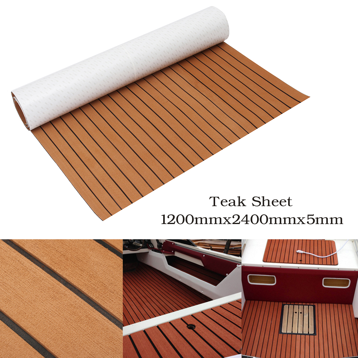 1200mmx2400mmx5mm Self Adhesive EVA Foam Faux Teak Sheet Boat Yacht Synthetic Teak Decking Floor Mat Brown