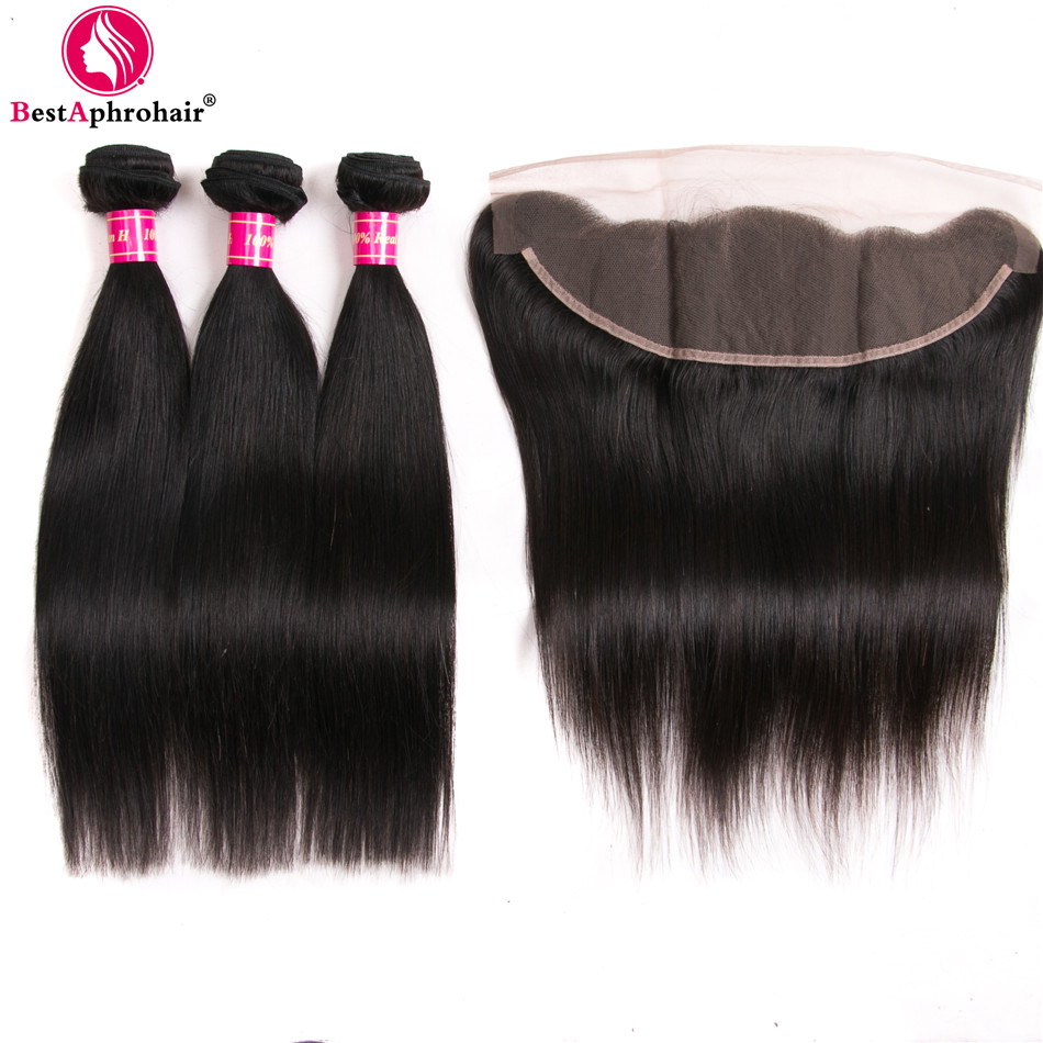 Aphro Straight Hair 3 Bundles With Frontal Brazilian Hair Weave Bundles With Closure Swiss Lace 13