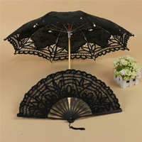 Umbrella Fan Fancy Retro Style Lace Handmade Hand Fan Parasol Umbrella Wedding Bridal Party Decorative Craft
