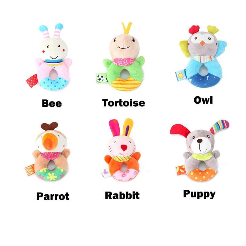 Newborn Baby Rattles Hand Bell Toys 0 12 Months Cartoon