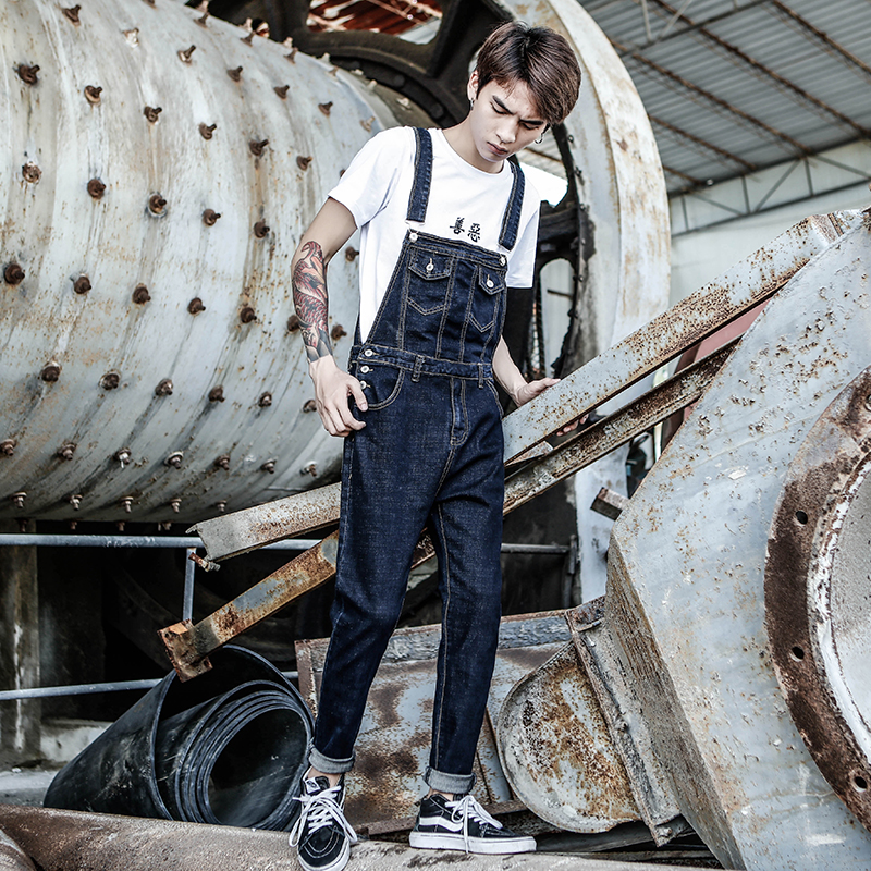 Autumn New Men's Denim Bib Tide Korean Version Of The Self-Cultivation Washed One-Piece Suspenders Men's Denim Trousers