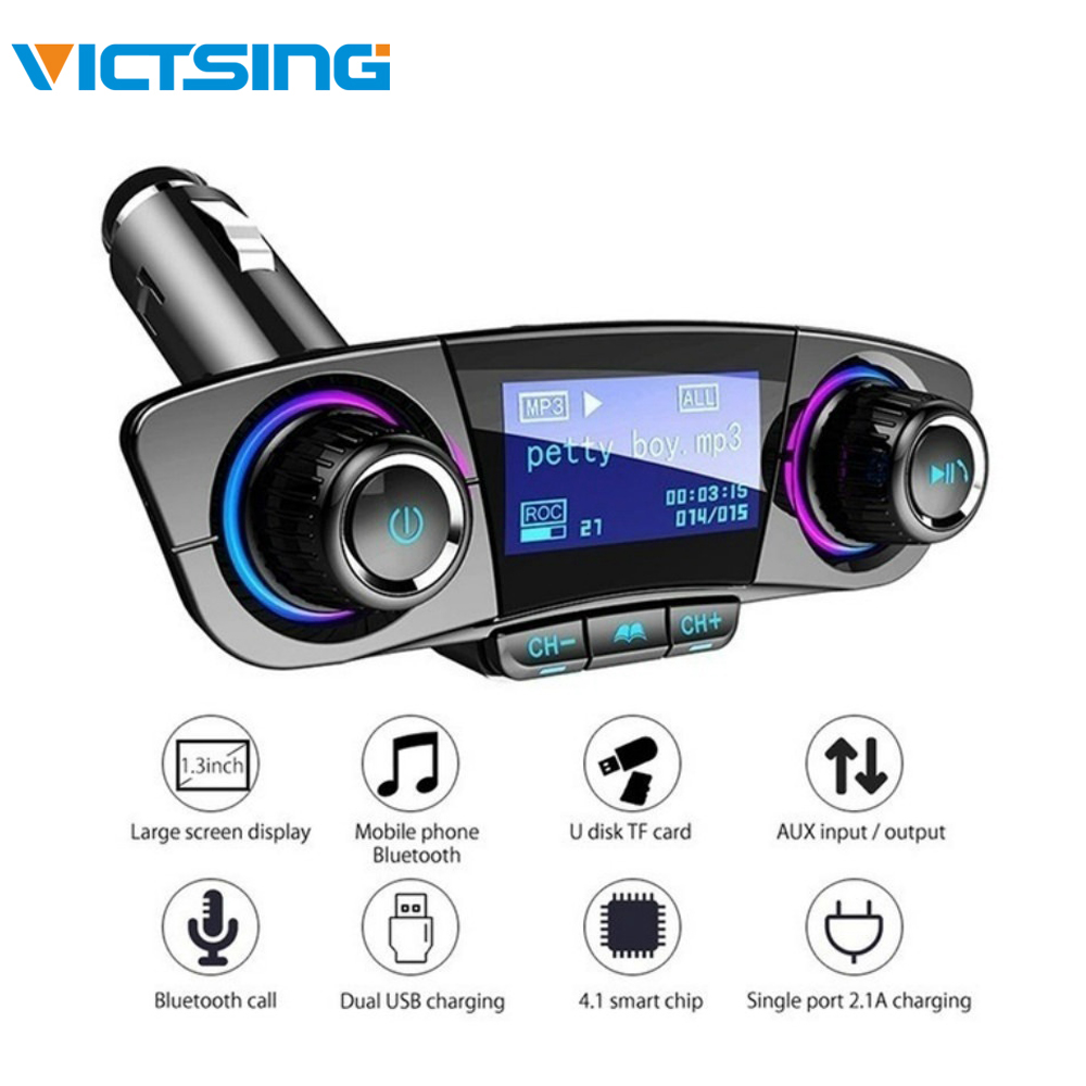 VicTsing BT06 MP3 Player Transmissor FM Do Carro Do Bluetooth 4.0 MP3 Jogador Adaptador de Áudio De Rádio Do Carro Do Bluetooth Kits Handsfree 5V 2.1A