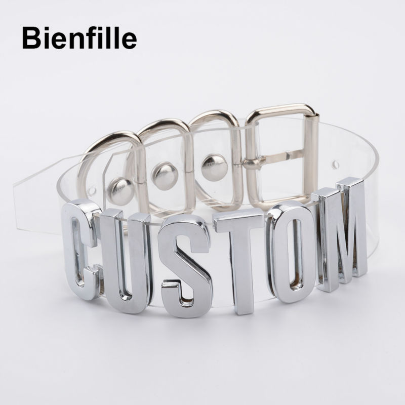 Customized Chokers For Women Handmade Cosplay Choose Name Letters Collar Clear PVC Chokers Gold/Silver Tall Alpabet Necklace