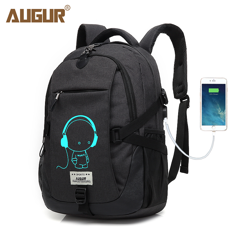 AUGUR Laptop Travel Backpacks USB Charging Port School Bags Waterproof Large Capacity Back Pack For Teenagers Mochila Feminina lidu usb male to micro usb male extension charging cable for samsung black 100 cm
