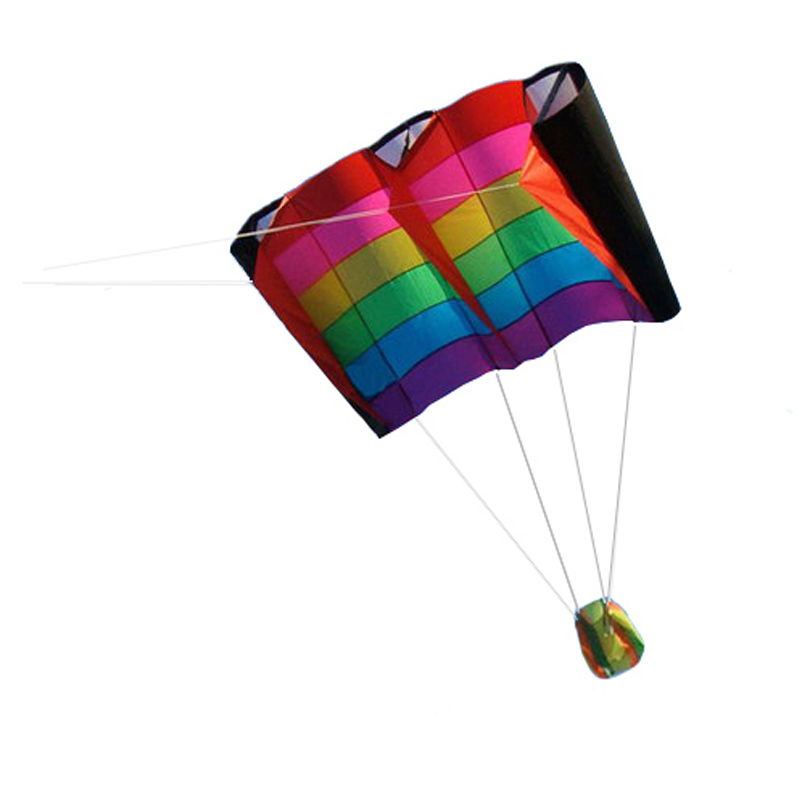 Professional 230cm Multi color Single Line Parafoil Kite / Soft Rainbow Kites With Flying Tools Beach kite flying