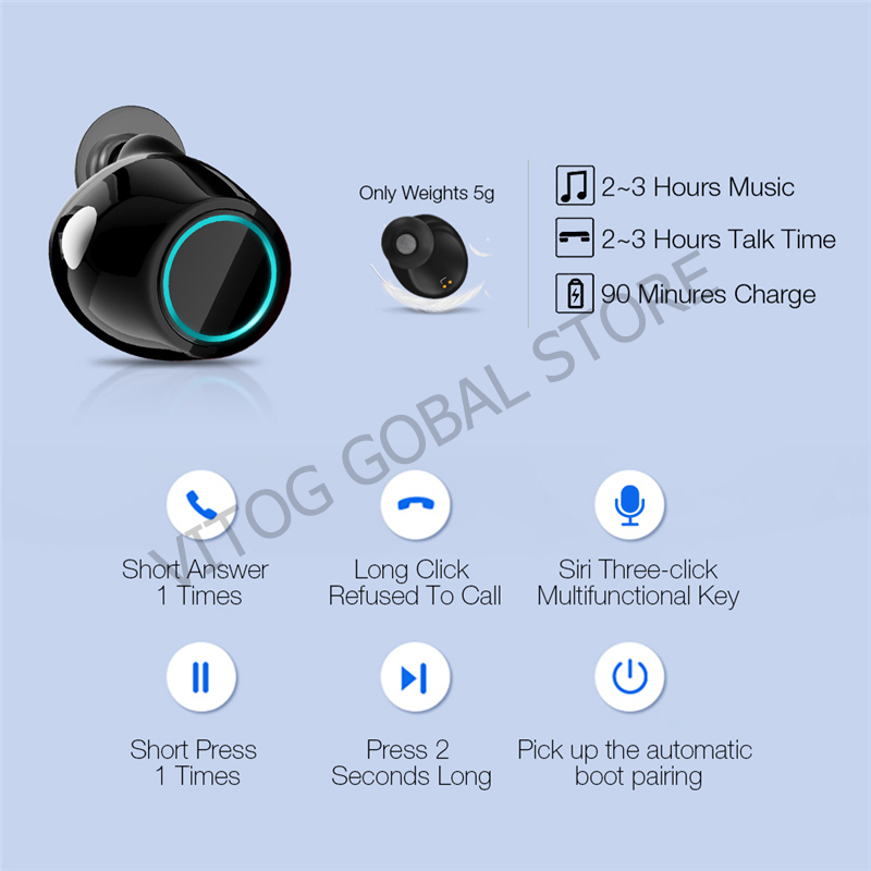 Image 5 - S7 TWS Earbuds Wireless Bluetooth Earphones 5.0 Stereo Headset With Mic Charging Box With Mic Charging Box for huawei earphone-in Bluetooth Earphones & Headphones from Consumer Electronics